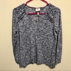 Knox Rose v-neck sweater with shoulder accents